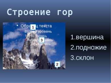 Строение гор вершина подножие склон 1 2 3