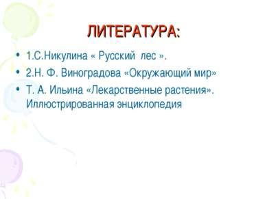 ЛИТЕРАТУРА: 1.С.Никулина « Русский лес ». 2.Н. Ф. Виноградова «Окружающий мир...