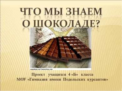 Проект учащихся 4 «Б» класса МОУ «Гимназия имени Подольских курсантов»