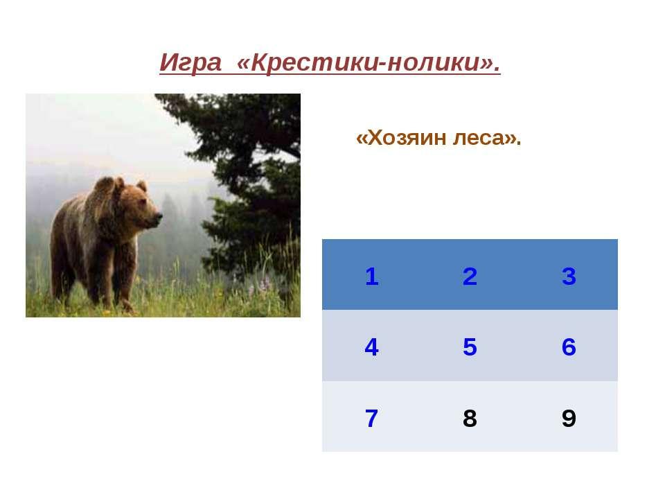 Игра «Крестики-нолики». «Хозяин леса». 1 2 3 4 5 6 7 8 9