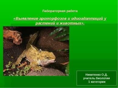 Лабораторная работа «Выявление ароморфозов и идиоадаптаций у растений и живот...