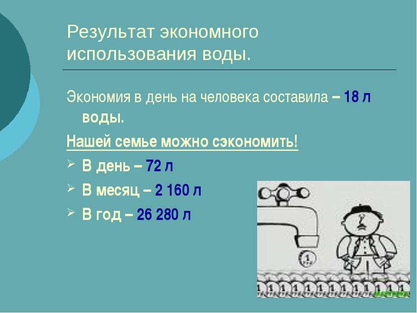 Результат экономного использования воды. Экономия в день на человека составил...