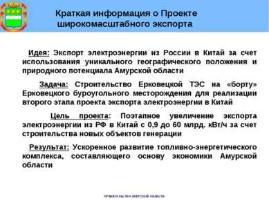 Краткая информация о Проекте широкомасштабного экспорта Идея: Экспорт электро...