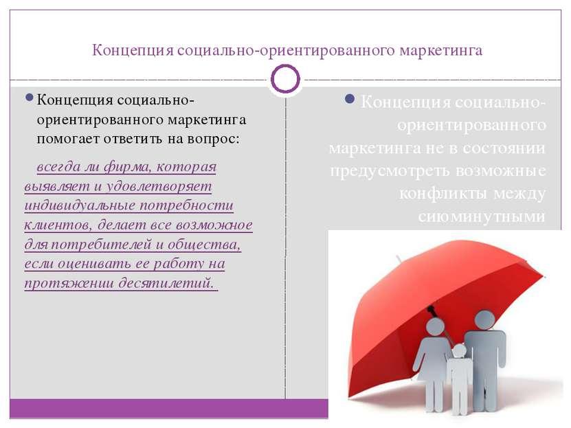 Концепция социально-ориентированного маркетинга Концепция социально-ориентиро...