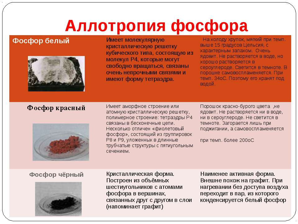 Аллотропия фосфора Фосфор белый Имеет молекулярную кристаллическую решетку ку...