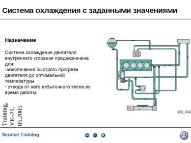 Система охлаждения с заданными значениями Назначение Система охлаждения двига...
