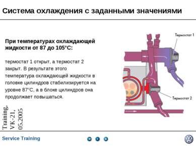 Система охлаждения с заданными значениями При температурах охлаждающей жидкос...