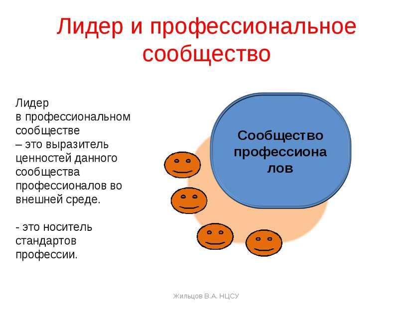 Лидер и профессиональное сообщество Лидер в профессиональном сообществе – это...