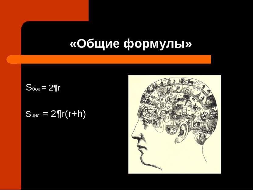 «Общие формулы» Sбок = 2¶r Sцил = 2¶r(r+h)