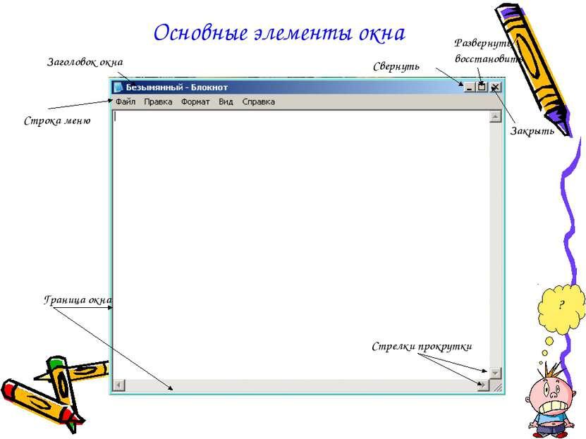 Основные элементы окна Строка меню Граница окна Стрелки прокрутки Заголовок о...