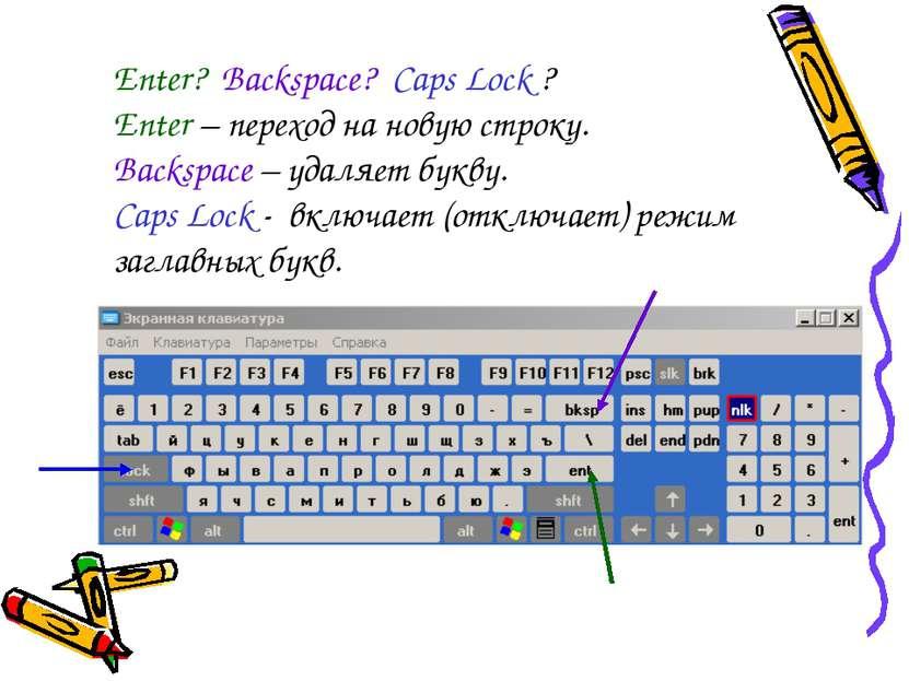 Enter? Backspace? Caps Lock ? Enter – переход на новую строку. Backspace – уд...