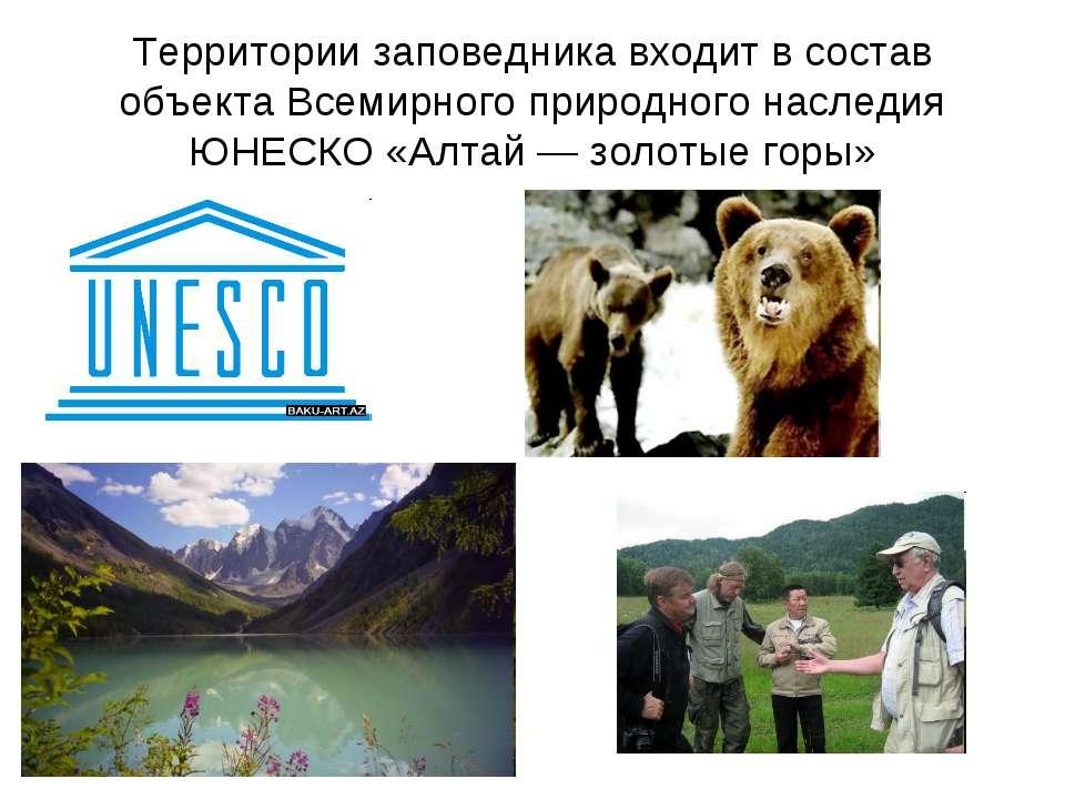 Территории заповедника входит в состав объекта Всемирного природного наследия...