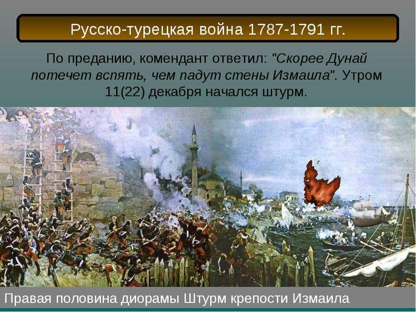 Правая половина диорамы Штурм крепости Измаила По преданию, комендант ответил...