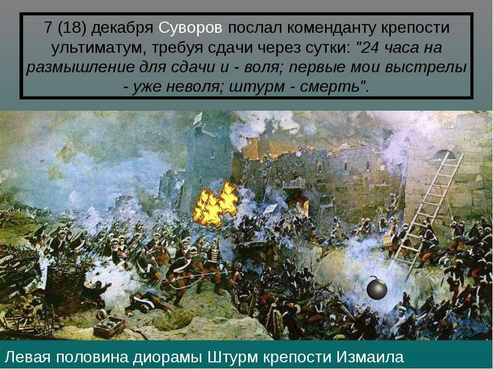 Левая половина диорамы Штурм крепости Измаила 7 (18)декабря Суворов послал к...