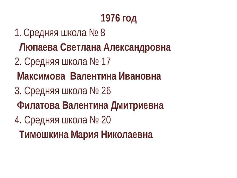 1976 год Средняя школа № 8 Люпаева Светлана Александровна 2. Средняя школа № ...