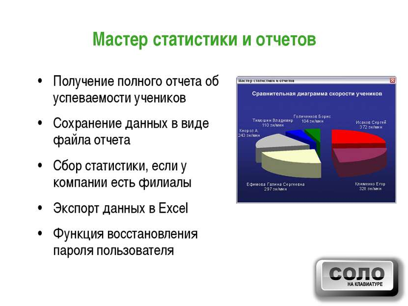 Мастер статистики и отчетов Получение полного отчета об успеваемости учеников...