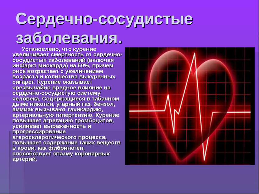 Сердечно-сосудистые заболевания. Установлено, что курение увеличивает смертно...