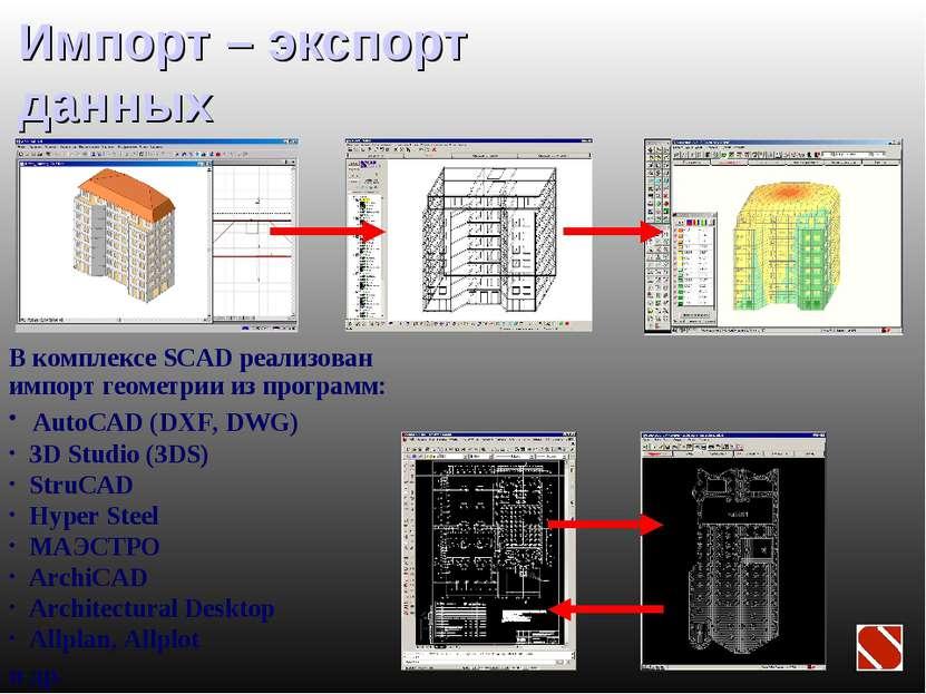 Импорт – экспорт данных В комплексе SCAD реализован импорт геометрии из прогр...