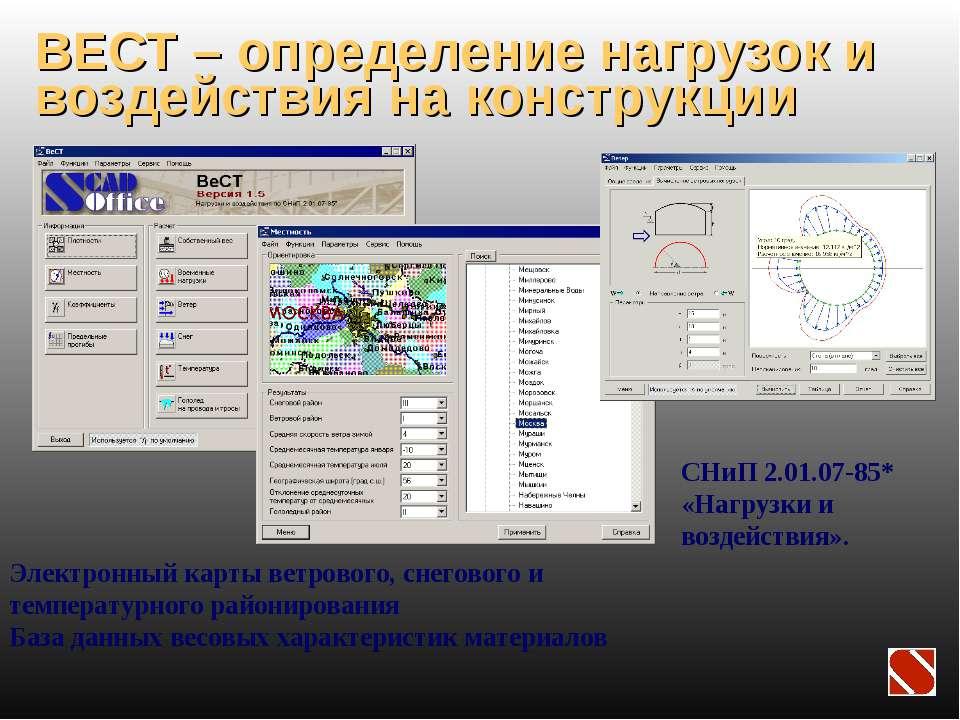 ВЕСТ – определение нагрузок и воздействия на конструкции СНиП 2.01.07-85* «На...