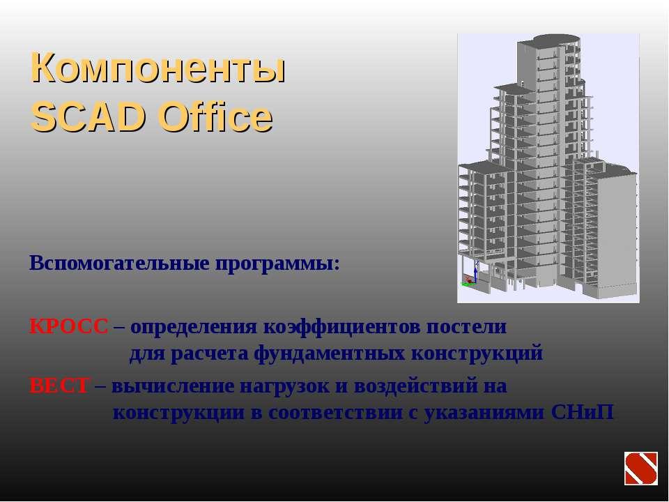 Компоненты SCAD Office Вспомогательные программы: КРОСС – определения коэффиц...