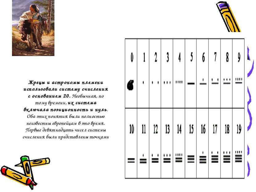 Жрецы и астрономы племени использовали систему счисления с основанием 20. Нео...
