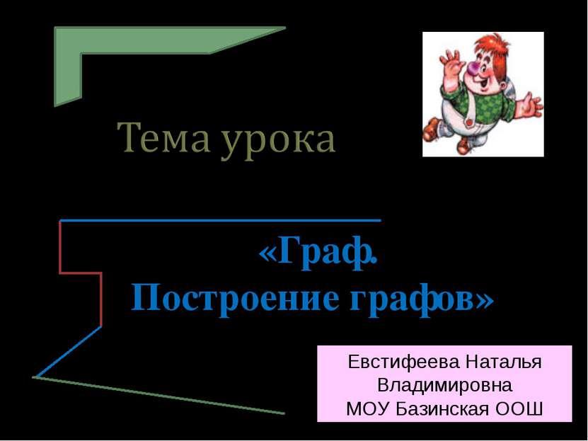 «Граф. Построение графов» 3 класс Евстифеева Наталья Владимировна МОУ Базинск...