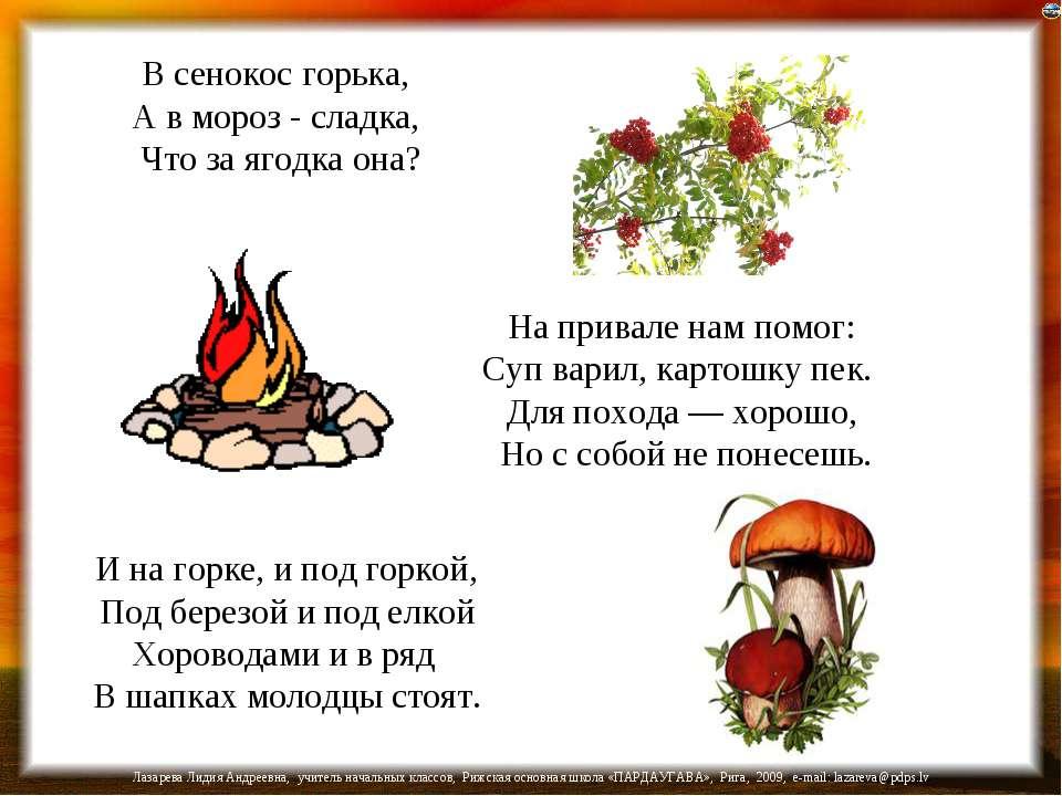 В сенокос горька, А в мороз - сладка, Что за ягодка она? На привале нам помог...