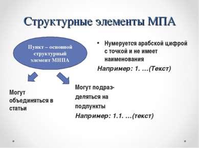 Структурные элементы МПА Могут объединяться в статьи Пункт – основной структу...