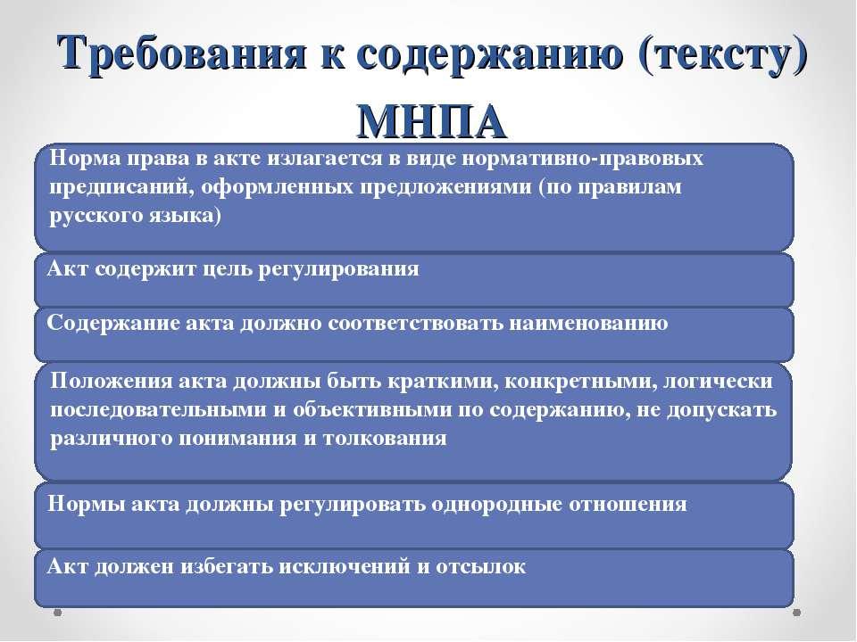 Требования к содержанию (тексту) МНПА Норма права в акте излагается в виде но...