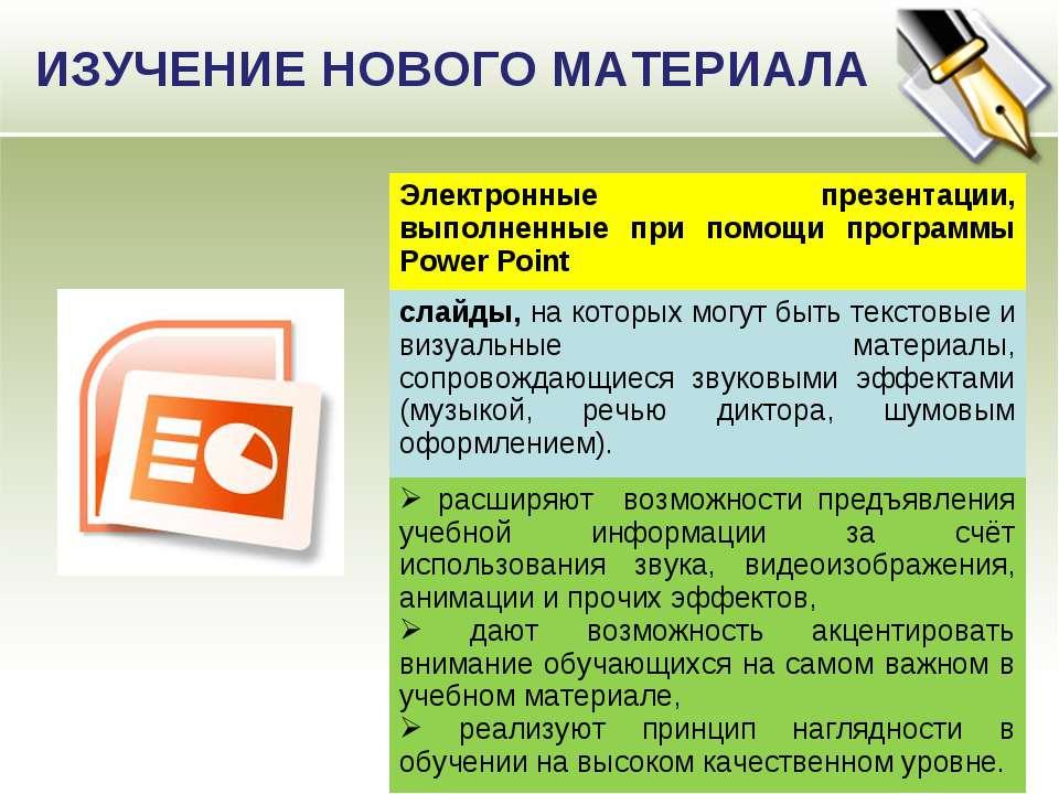 ИЗУЧЕНИЕ НОВОГО МАТЕРИАЛА Электронные презентации, выполненные при помощи про...