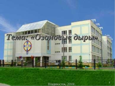 * Владивосток, 2010г. Тема: «Озоновые дыры»