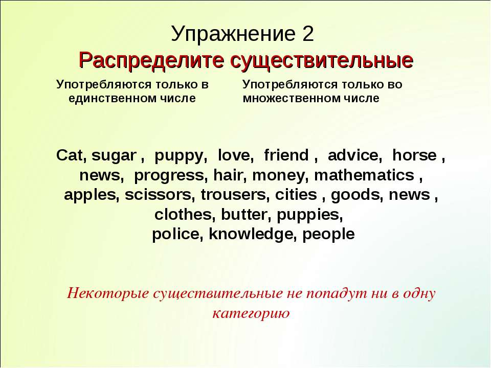 Упражнение 2 Распределите существительные Cat, sugar , puppy, love, friend , ...