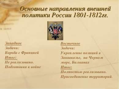 Основные направления внешней политики России 1801-1812гг. Западное Задачи: Бо...