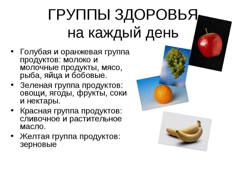 ГРУППЫ ЗДОРОВЬЯ на каждый день Голубая и оранжевая группа продуктов: молоко и...
