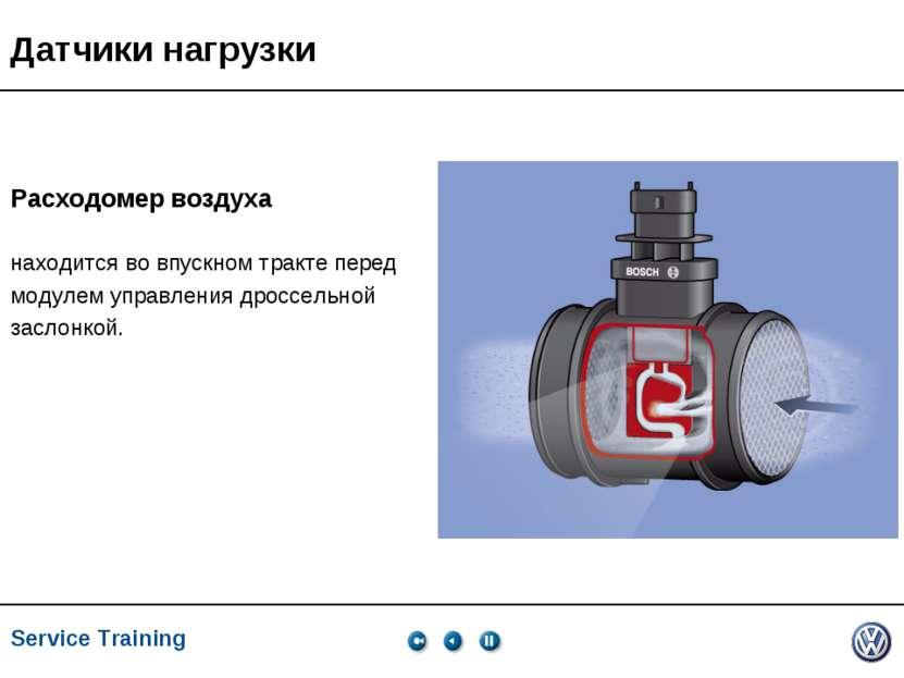 Service Training, VK-21, 05.2005 Датчики нагрузки Расходомер воздуха находитс...