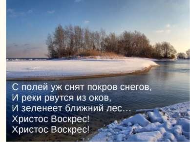 С полей уж снят покров снегов, И реки рвутся из оков, И зеленеет ближний лес…...