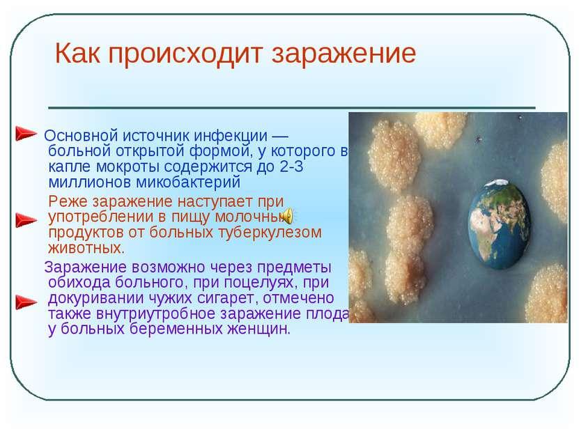 Как происходит заражение Основной источник инфекции — больной открытой формой...