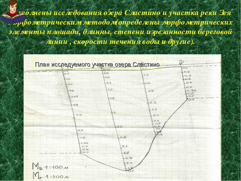 Выполнены исследования озера Сластино и участка реки Зея морфометрическим мет...