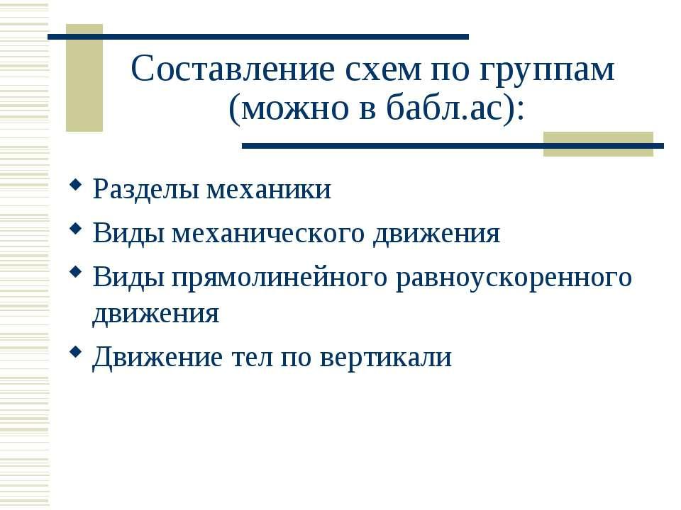 Составление схем по группам (можно в бабл.ас): Разделы механики Виды механиче...