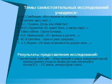 Темы самостоятельных исследований учащихся: 1. А.С.Грибоедов. «Все свалили на...