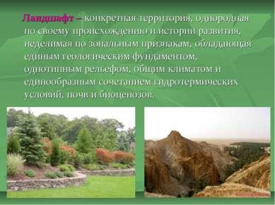 Ландшафт – конкретная территория, однородная по своему происхождению и истори...