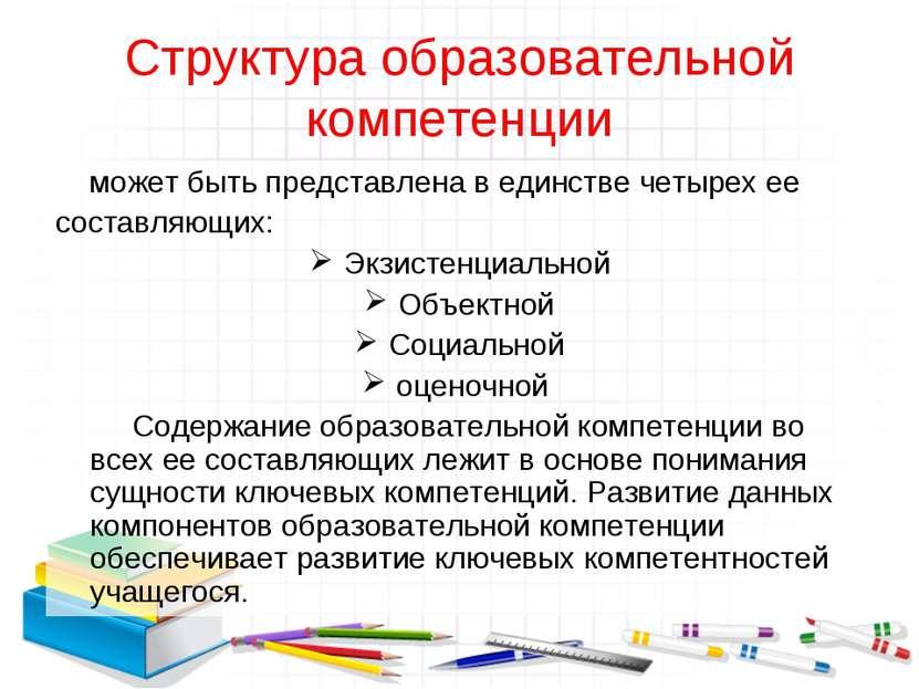 Структура образовательной компетенции может быть представлена в единстве четы...