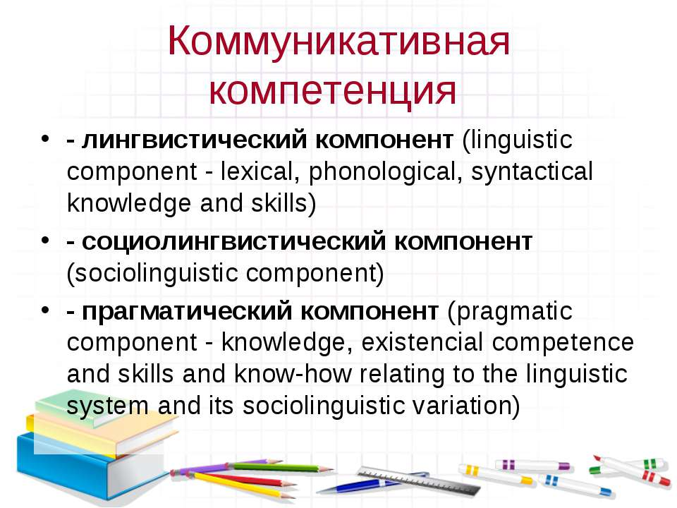 Коммуникативная компетенция - лингвистический компонент (linguistic component...