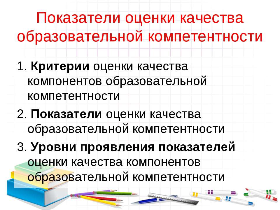 Показатели оценки качества образовательной компетентности 1. Критерии оценки ...
