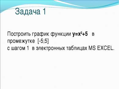 Задача 1 Построить график функции у=х2+5 в промежутке [-5;5] с шагом 1 в элек...