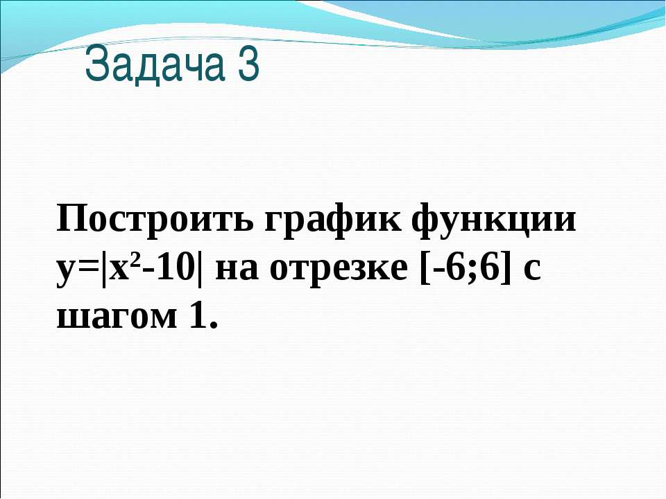 Задача 3 Построить график функции y=|x2-10| на отрезке [-6;6] c шагом 1.
