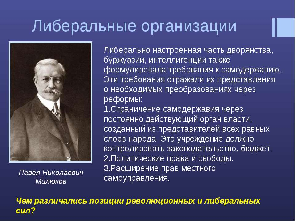 Либеральные организации Павел Николаевич Милюков Либерально настроенная часть...