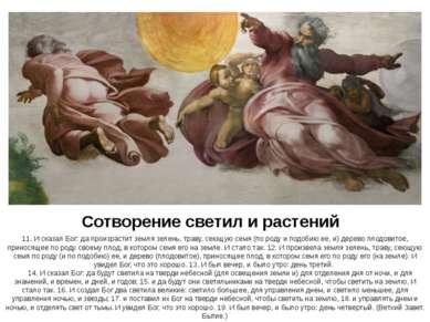 Сотворение светил и растений 11. И сказал Бог: да произрастит земля зелень, т...