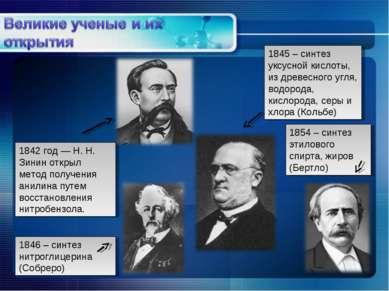 1842 год — Н. Н. Зинин открыл метод получения анилина путем восстановления ни...