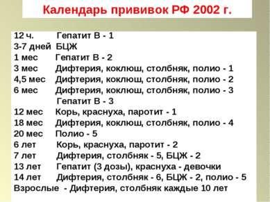 Календарь прививок РФ 2002 г. 12 ч. Гепатит В - 1 3-7 дней БЦЖ 1 мес Гепатит ...